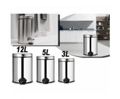 Pattumiera multiuso casa ufficio negozio alluminio bidone rifiuti 3 diverse capacità 3 - 5 - 12 LT
