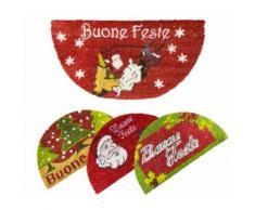 Zerbino natalizio mezzaluna 228865 BUONE FESTE fibra di cocco con antiscivolo