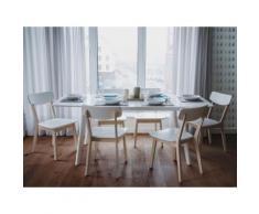 Tavolo da pranzo allungabile in MDF laminato bianco - 150/195cm - SANFORD