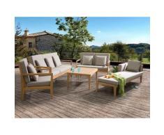 Set divani da esterno con tavolino in legno acacia marrone - PATAJA