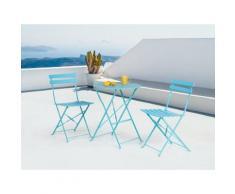 Set di 2 sedie e tavolino da caffè in alluminio azzurro FIORI