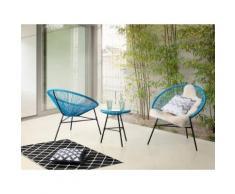 Set da balcone blu - 2 sedie e tavolino da caffè - ACAPULCO