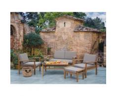 Set divani da esterno con tavolino in legno acacia marrone - MANILA