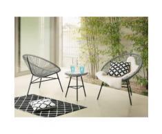 Set da balcone grigio chiaro - 2 sedie e tavolino da caffè - ACAPULCO