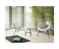 Set di 2 sedie bianche e tavolino da caffè stile spaghetti ACAPULCO
