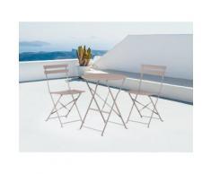 Set di 2 sedie e tavolino da caffè in alluminio grigio marrone FIORI