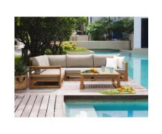 Divano angolare da esterno con tavolino in legno acacia - Salotto da giardino con cuscini - TIMOR