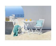 Set da balcone in legno laccato bianco - Tavolo con 2 sedie - FIJI