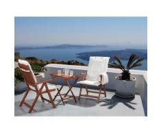 Set da balcone - Tavolino e due sedie con cuscini color beige - TOSCANA