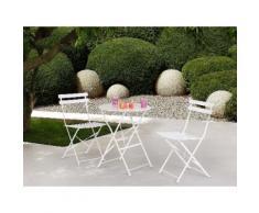 Set di 2 sedie e tavolino da caffè in alluminio bianco FIORI