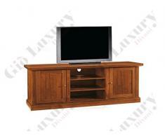 Mobile Porta Tv, Stile Classico, In Legno Massello E Mdf Con Rifinitura In Noce Lucido - Mis. 46 X 160 X 56