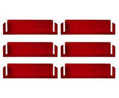 TEEbooks Muro-Set di 6 mensole, Acciaio, Rosso, 60 x 15 x 15 cm