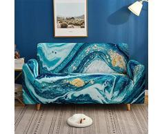 Morbuy Marmo Copridivano Fodera Copridivani Elasticizzato Sofa Protettore Copertura per 1/2/3/4 posti Divano Poltrone + Rullo Appiccicoso Regalo (Marmo Blu,2 posti)
