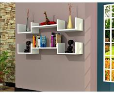 LIFE Mensola da muro - Bianco - Mensola Parete - Mensola Libreria - Scaffale pensile per studio / soggiorno in Design moderno