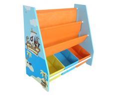Kiddi Style Libreria Espositore a Tema e scaffale per oggetti in tema pirata per bambini in Legno