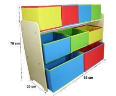 Spielwaren Klee Scaffale per Bambini con scatole portaoggetti, per Bambini, in Legno, 9 scatole XXL Delta