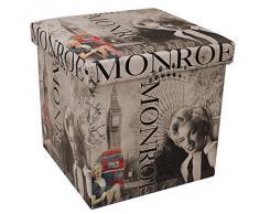 38 x 38 cm sgabello pieghevole imbottitura in ecopelle sgabello pieghevole sgabello sedile cubo sgabello contenitore Marylin Monroe
