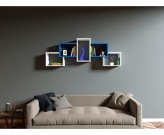 Homidea Bold Mensola da Muro - Mensola Parete - Mensola Libreria - Scaffale pensile per Studio/Soggiorno in Design Moderno (Bianco/Blu)