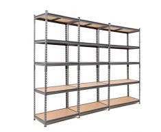 3 scaffalature in acciaio resistente per garage, 175 kg per ripiano (5 livelli, 1800 x 900 x 450 mm (altezza x larghezza x profondità).