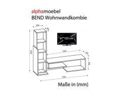 Alphamoebel - Parete attrezzata soggiorno Bend, colore: Bianco/ Merrone