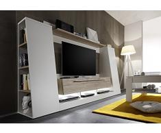 Parete porta tv moderna Dakota, mobile soggiorno bianco e rovere, portatv design