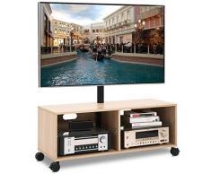 RFIVER Mobile TV con Ruote da Pavimento Mobiletti da Soggiorno Girevole Porta TV Stand per Schermi 32 a 65 pollici Armadio Moderno Legno di quercia TW5001