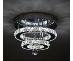 SHFGOO Cristallo moderno LED Plafoniera K9 Cristallo acciaio inossidabile Lampadario Decor Perfetto per corridoio/Scala/Camera da letto/Sala da pranzo (3 colori dimmerazione)