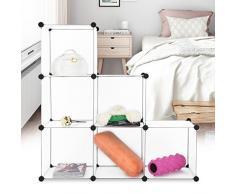 Finether Armadio Armadietto Guardaroba Scaffale Scarpiera a cubo, Bianco (6 Cube)