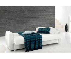 Divano trasformabile a letto con contenitore multiuso in ecopelle (Beige)