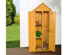 TecTake Armadio da esterno in legno casetta per gli attrezzi | tetto a punta | 69 x 60 x 211 cm