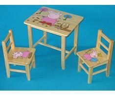 Set in legno tavolino con 2 sedie per cameretta bambini. M29. Ottima idea regalo.Completo in pino con disegno a mano.