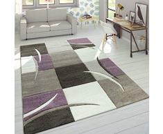 Dimensione:80x150 cm Tappeto di Alto Design Quadrettato Pelo Corto Marrone Beige Crema SVENDITA