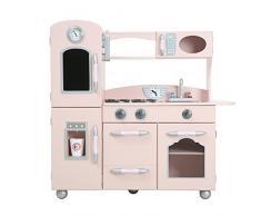 Teamson Kids Pink Country Living Cucina Giochi Legno per Bambini-Frigorifero E Forno, Rosa