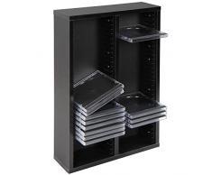 Scaffale Porta CD DVD - Archivazione 52 CD, 2 Ripiani, 10x30x44 cm, in Legno, Colore a Scelta - Libreria, Mensola CD da Parete, Mobile DVD