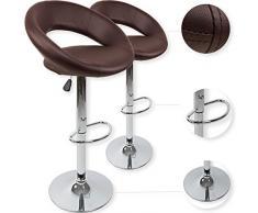 Kesser - Set di 2 sgabelli alti, per cucina o sala da pranzo, regolabili in altezza, girevoli a 360°, con schienale, seduta imbottita e poggiapiedi, 8 colori disponibili, marrone