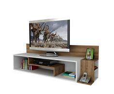 STREAM Set Soggiorno - Bianco & Noce - Mobile TV Porta con mensola in un design moderno