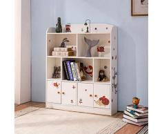 Emall Life libreria e scaffali per bambini, visualizzazione di libri giocattoli organizzatore scaffale per ragazzi e ragazze (bianco)