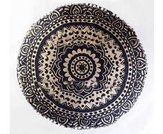 Sophia Art Indiano Nero Oro Ombre Mandala poggiapiedi Rotondo Pouf ottomano Pouf Decorativo Pouf ottomano, Pavimento Indiano Comodo Cuscino in Cotone Cuscino,14 x 24 '