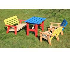 Per bambini, in legno, per esterni, da giardino, tavolo, sedie &, confezione da 4 pezzi, colore: multicolore