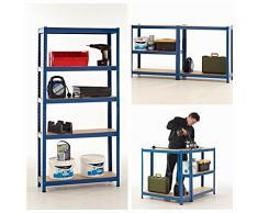 Scaffalature per carichi pesanti in acciaio per garage, 275 kg per ripiano (5 livelli 1800 mm altezza x 900 mm larghezza x 450 mm profondità)