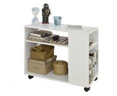 SoBuy® Tavolino Basso da Salotto con Ruote,Bianco,FBT34-W
