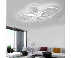 Lampada da soffitto a LED Lampada da soggiorno Camera da letto per asilo ultrasottile Anelli Lampadario Illuminazione a soffitto Dimmerabile Telecomando Lampada da cucina,Whitecolor,L100*W58*H8.5cm