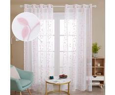 Deconovo Tende Trasparenti in Voile Ricamate per Soggiorno Moderne con Occhielli 140x240cm Rosa 2 Pannelli