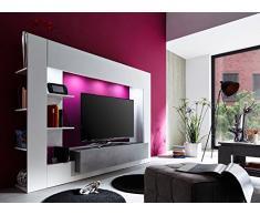 Parete porta TV Jane, mobile soggiorno moderno bianco con led