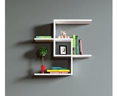 EVEN Mensola da muro - Bianco - Mensola Parete - Mensola Libreria - Scaffale pensile per studio / soggiorno in Design moderno