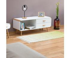 Credenza con bordi arrotondati e 2 cassetti, armadietti con gambe lunghe, basso da TV, AxLxP: 48 x 120 x 40 cm, bianco