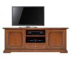 Arteferretto Mobile base per tv in stile classico, porta tv in legno per salotto, stile classico tinta ciliegio, angolo tv per soggiorno, Fatto in Italia, dimensioni: L153xP40xH60 cm