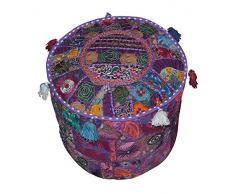 Rastogi artigianato indiano confortevole pavimento Cuscino in cotone ottomano, impreziosita da patchwork e ricamo workhome decorativo handmade Pouf ottomano, vintage indiano turchese ottomano Pouf