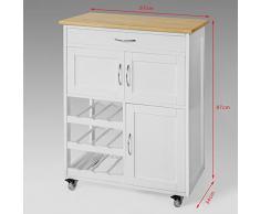 SoBuy® Carrello di servizio, Credenza in legno, mobile cucina, bianco, FKW45-WN,IT