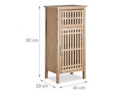 Relaxdays noce mobile da bagno, salva spazio, nicchia armadio, credenza in legno, medio 82Â x 40Â x 29Â cm AxLxP, naturale